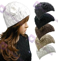 New Chunky Cable Knit Hat Beanie Hat Colour Choice Womens Ladies Cute Wi... - $6.93 CAD