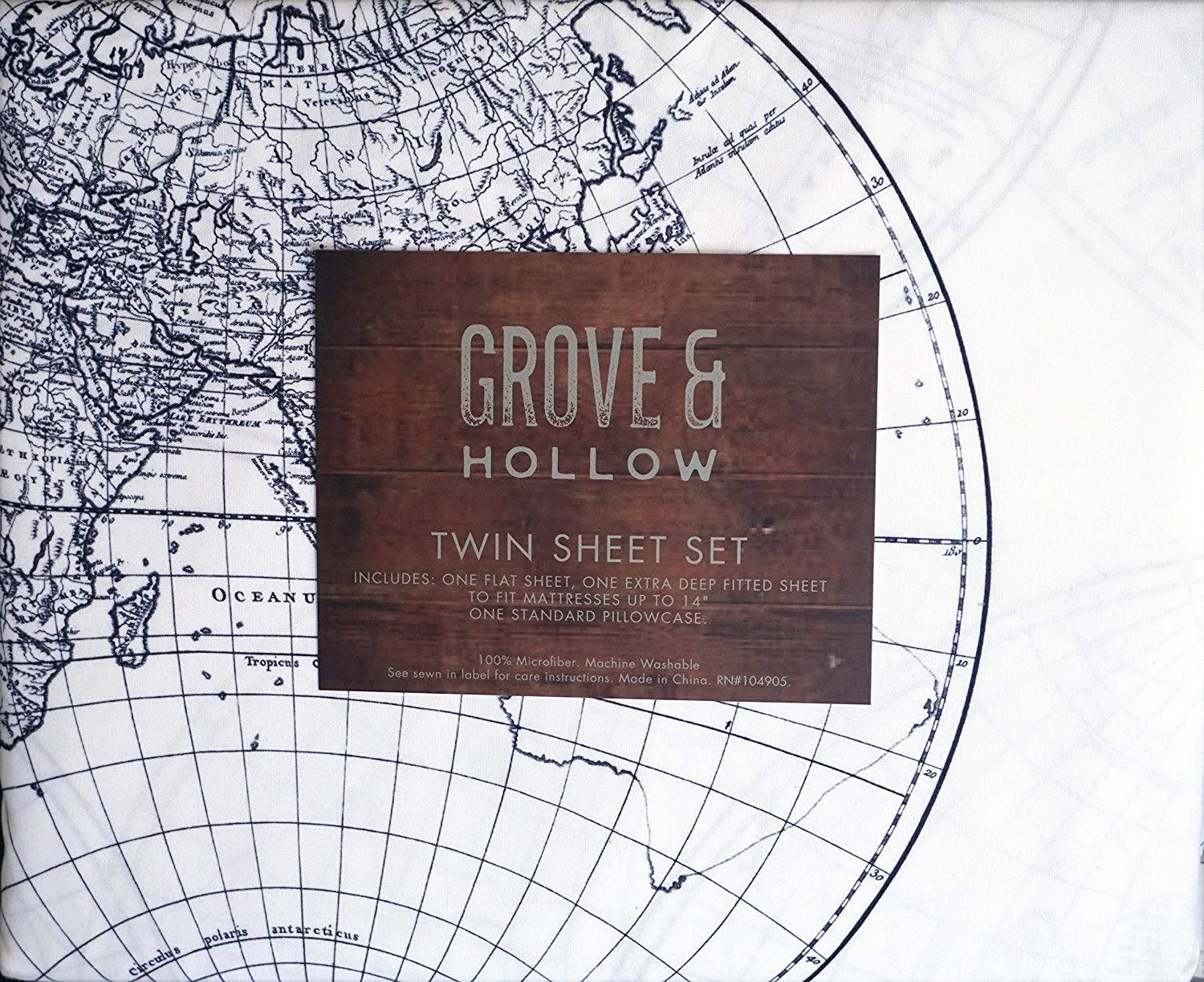 Grove & Hollow Old World Globe Map Style Black/White Microfiber Sheet Set Twin