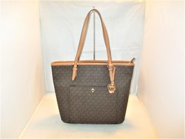 fb4f8f14b44b Michael Kors Jet Set Large MK Signature Logo Top Zip Snap Pocket Tote $1.