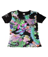 Super Cute Ed Hardy Girls Black Tee Shirt w/Birds Silver Koi Motif, Short Sleeve - $23.99