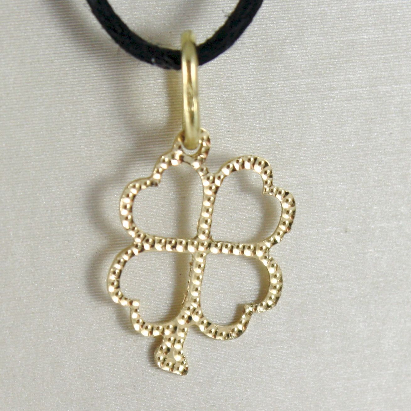 YELLOW GOLD PENDANT 750 18K FOUR-LEAF CLOVER PENDANT, MILLED BUBBLES, LONG 2 CM