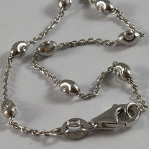 """18K WHITE GOLD ROLO ALTERNATE CHAIN NECKLACE 3mm FACETED OVAL BALLS 16"""" image 2"""