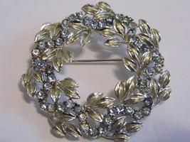 VTG Silver Gold Tone Brooch Blue Gems Wreath Large Costume Fashion Jewel... - $14.66