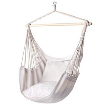 Y- STOP Hammock Chair Hanging Rope Porch Swing Seat Quality Cotton (Beige) - $76.78