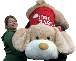I LOVE YOU Giant Stuffed Puppy Dog 5 Foot Soft Wears i Shirt Big Plush - $127.11