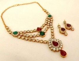 Indian Gold Plated Bollywood Red Green Rhinestone Bridal Necklace Jewelry Set - $21.84