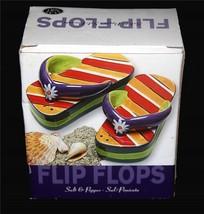 Large Clay Art Colorful Striped Flower FLIP FLIPS Salt & Pepper Shakers ... - $14.99
