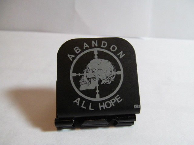 Primary image for Abandon All Hope Sniper Scope Skull Laser Etched Aluminum Hat Clip Brim-it