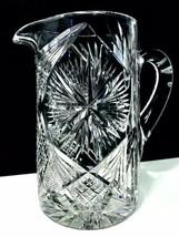 American Brilliant Period Antique Starburst Diamond Fan Crosshatch Water Pitcher - $83.22