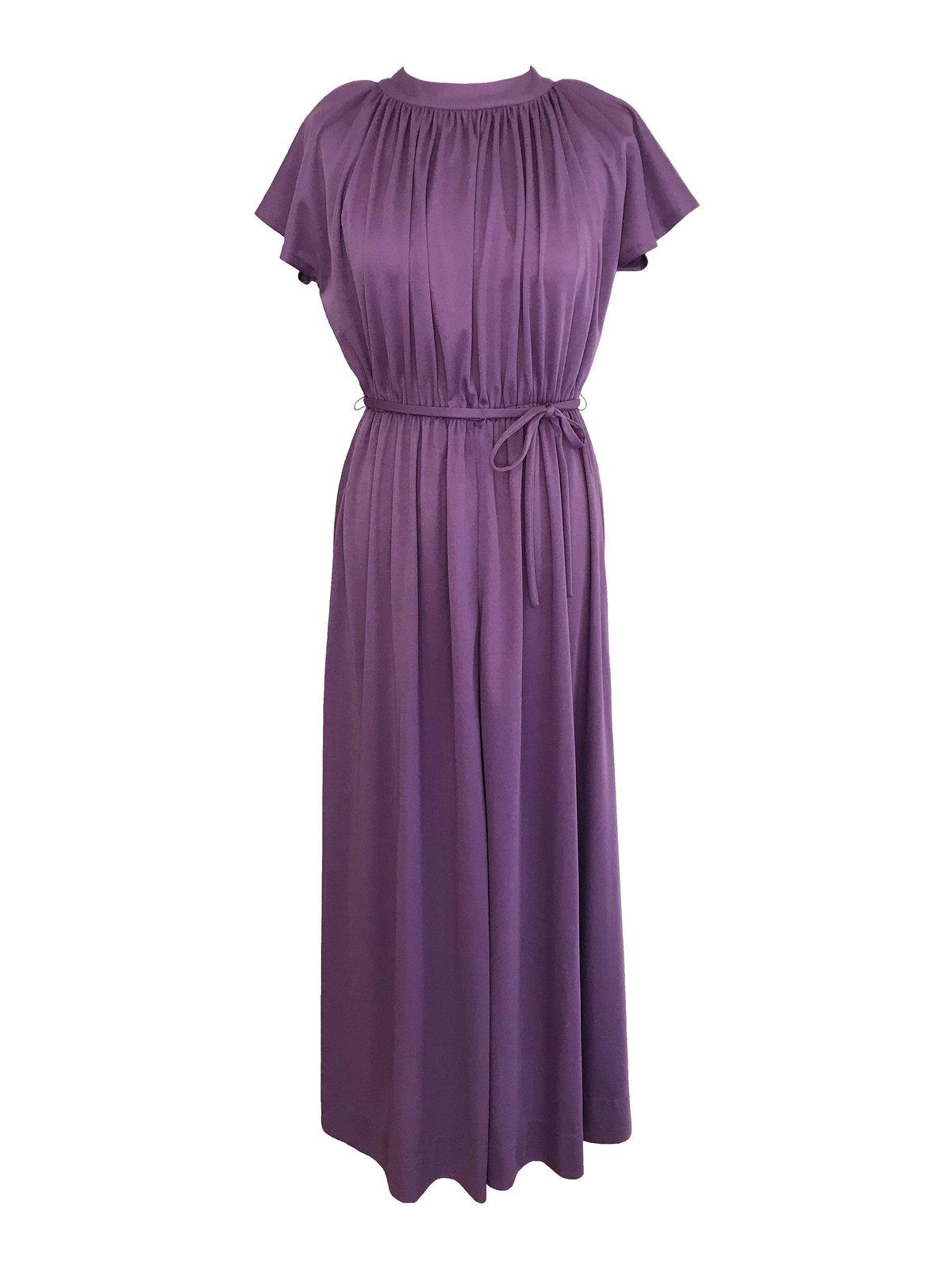 70s Lavender Plum Heather Grecian Style Ruched Draped Tunic Raglan Kimono Sleeve image 2