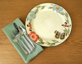"""Pair of Pfaltzgraff """"Butterfly Garden"""" Pattern Sage Cream Stoneware Dinner Plate - $18.00"""
