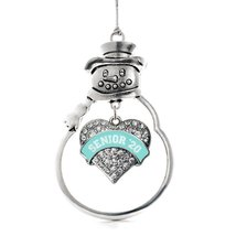 Inspired Silver Teal Senior 2020 Pave Heart Snowman Holiday Ornament - $14.69