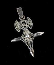 Vintage .925 Sterling Silver Chunky Geometric Openwork Jesus Cross Penda... - $26.99