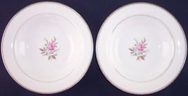 Lot of 2 Noritake Roanne Pink Rose Rim Soup Bowls 5794 Japan Vintage - $8.99