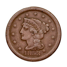 1853 Braided Hair Large Cent 1C Penny (Very Fine, VF Condition) - $39.59