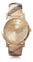 Burberry Womens Watch BU9026 The City Champagne Dial Haymarket Check Strap - $247.00