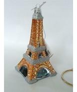 Kurt Adler Noble Gems Eiffel Tower Mercury Glass Xmas Ornament Silver Go... - $19.79