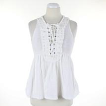 Anthropologie Deletta Tank Top Crochet Lace Detail White Tie Up Neckline... - $22.39