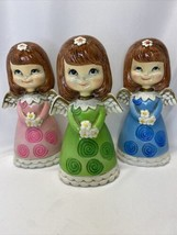 """Vintage Set Of 3 Dickson MCM Paper Mache Christmas Angels With Daisies 6.5"""" - $45.00"""