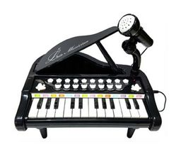 World Distribution Kids Grand Piano with Microphone Melody Musical Toy (Black) image 6