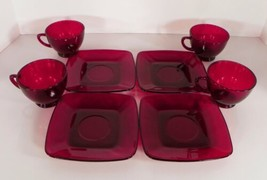 Anchor Hocking CHARM Royal RUBY Red Glass Cup and Saucer Set (s) LOT OF 4 - $24.70