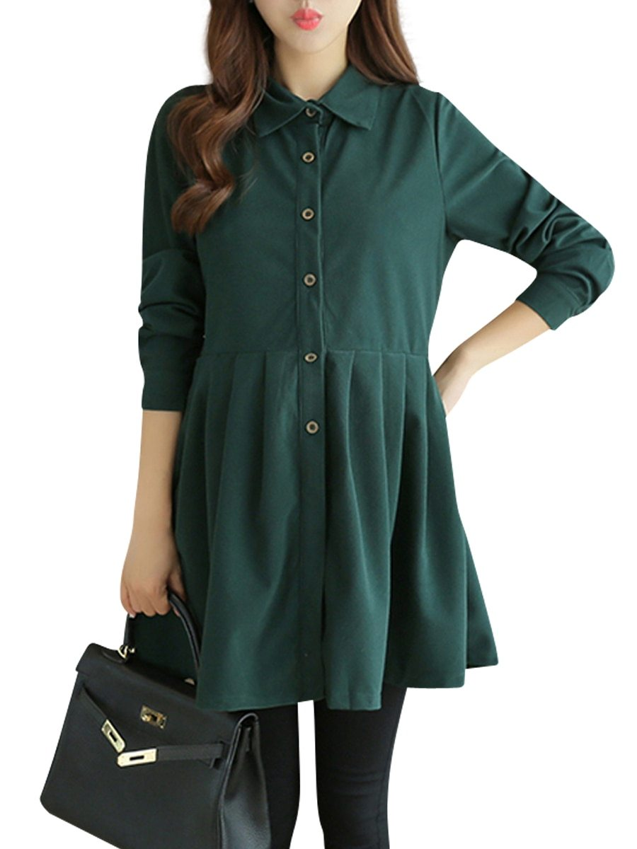 Maternity Dress Solid Color Long Sleeve Shirt Dress image 2
