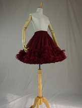 Burgundy Ballerina Tulle Skirt High Waisted Women Girl Ballet Skirt image 2