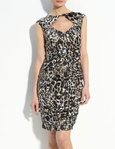NWT $378 NANETTE LEPORE Fiery Angel Leopard Print Silk Ruched Sheath Dre... - $53.63 CAD