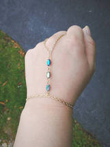 Boho Slave Bracelet Gem Hand Chain Rare Antique Gem Hand Chain Blue Gem ... - $64.00