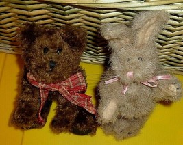 """Boyds 7"""" Brown Jointed Bear and 7"""" Jointed Light Brown Tan Bunny Rabbit ... - $15.00"""