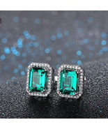 4.00Ct Green Emerald & Sim Diamond Halo Stud Earrings Solid 14K White Go... - $79.99