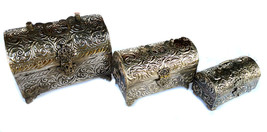 3 German Silver Jewelry Box Antique Box Mini Jewelry Box Set Of 3 Jewelr... - $279.38