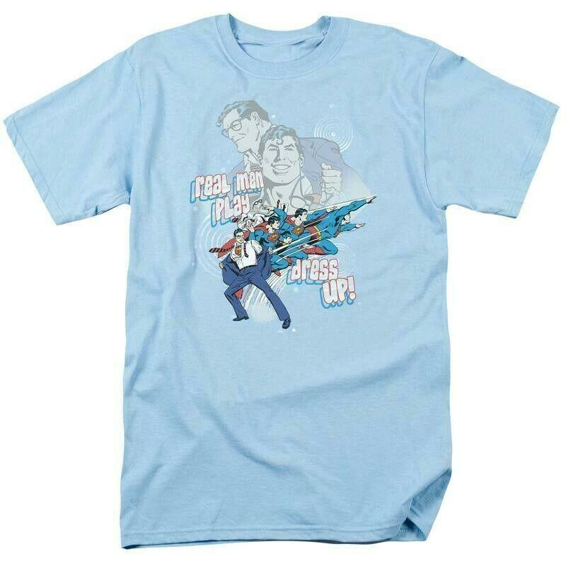 Superman t shirt dc comics book batman superhero retro blue cotton dco305