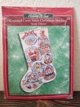 Holiday Time Snow Domes Bucilla Counted Cross Stitch Christmas Stocking 84356 - $49.99