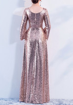 Long Sleeve Rose-Gold Maxi Sequin Dress Women Maxi Sequined Evening Wedding Gown image 3