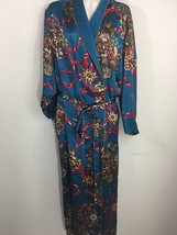 Victoria's Secret 100% Silk Robe Vintage Gown Floral Turquoise Burgundy ... - ₨6,403.32 INR