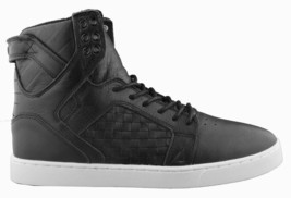 Supra Skytop LX Black Woven Leather White Sole Hi Top Skate Shoes image 2