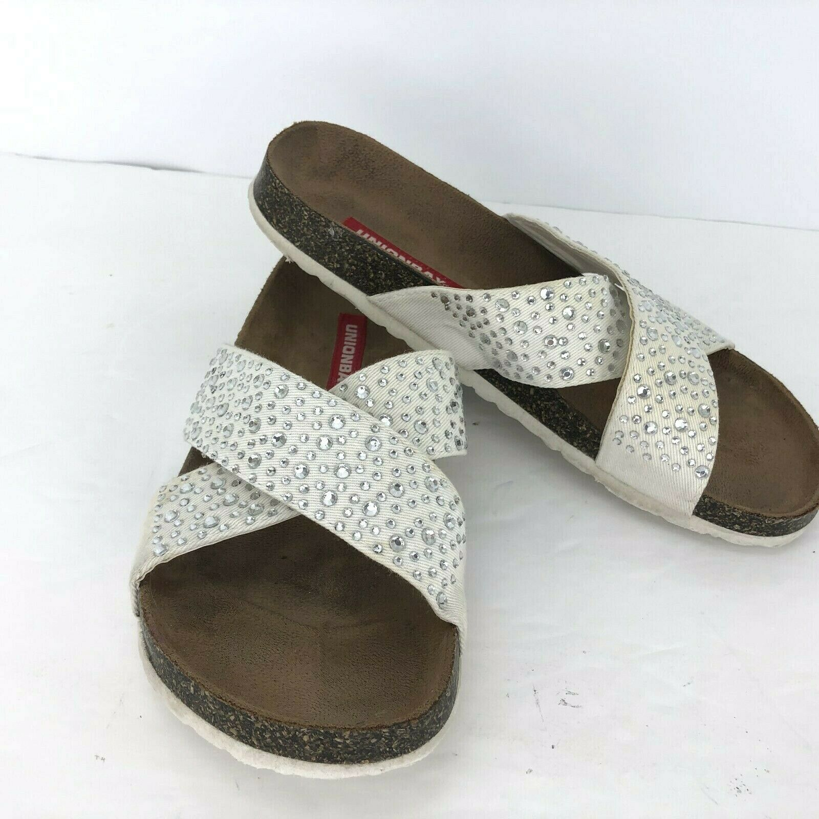 Primary image for Union Bay Twill 7.5 Kris Kross Slide Sandal 3108084 Off White Canvas Rhinestones