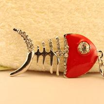 Fish Bone Crystal Keyring Charm Purse Ring Chain Keychain Skeleton #MCK11 - $18.17