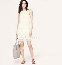 Nwt Ann Taylor Loft Ivory Lace Stripe Shift Beautiful Stunning Gorgeous Dress - $69.99