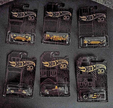 2018 Hot Wheels 50th Anniversary Black and Gold Set of 6 - $15.34