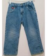 Blue Jeans Denim Boys Size 8 Husky Wrangler Adjustable Waist Straight  - $27.99