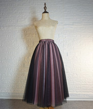 Women Black Pink Long Tutu Skirt Outfit High Waist Tulle Party Skirt Plus Size image 5