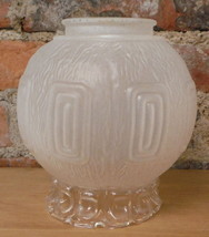 Vintage Art Deco Frosted Glass Light Globe Raised Relief Shade Textured ... - $43.11