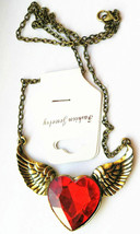 Ladies Bold Red Heart Necklace (14608) >> C/S & H Available - $4.95