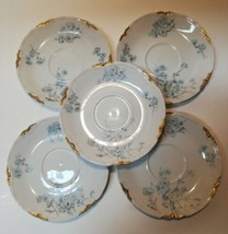 """Lorenz Hutschenreuther Set Of Five 5.5"""" Saucers Germany White Gold Floral - $32.67"""