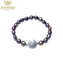 ASHIQI Big 12-13mm Button Freshwater Pearl Bracelets Natural Black Baroq... - $20.03
