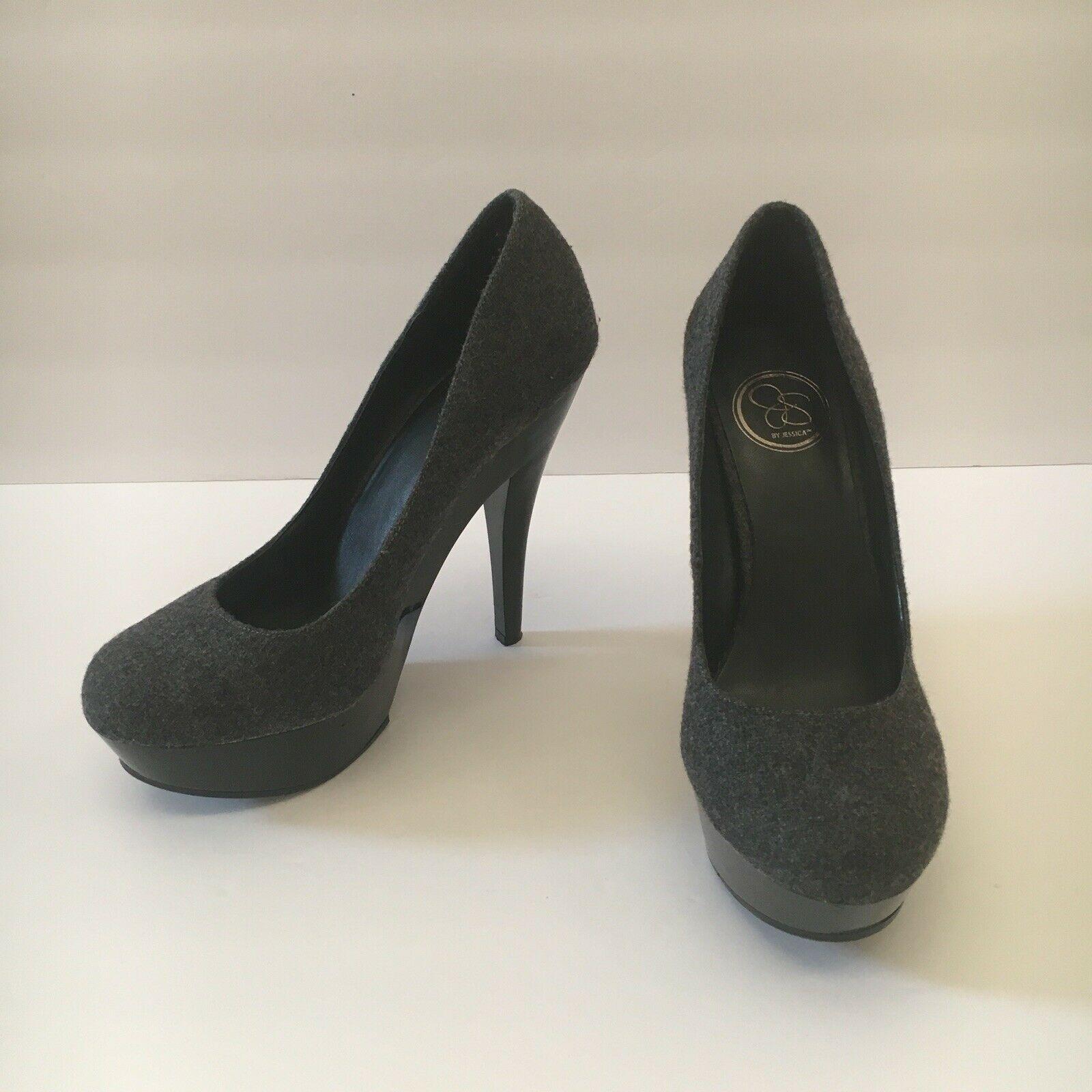 Jessica Simpson Gracex Gray Wool Round Toe Platform Pumps Heels Size 7.5 M