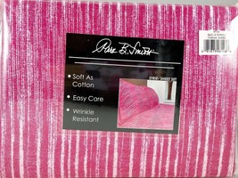 Queen Sheet Set Raspberry Pink Textured Striped Pattern 4 piece Soft New - $36.47