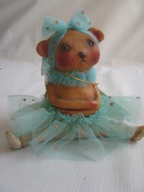 Michelle Allen Spring Easter Figurine  Little Miss Pouty Bear  Aqua Tutu - $27.67